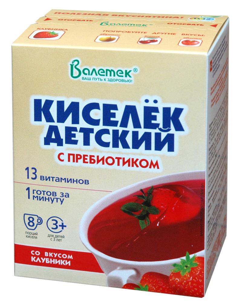 Кисель детский с 13 витаминами и ПРЕБИОТИКОМ, клубника (25*8)